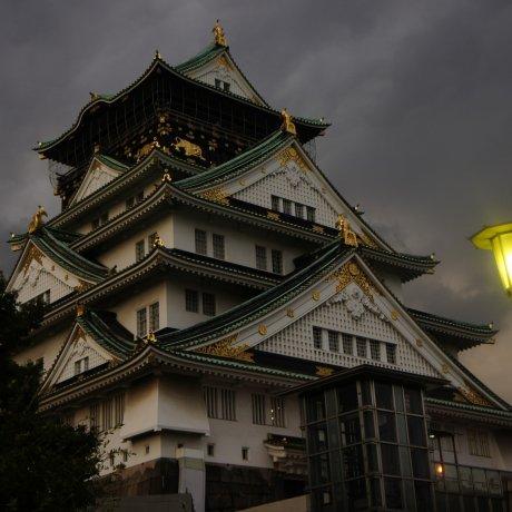 Мистические ночные виды замка Осака